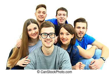 boldog, fiatal, csoport emberek