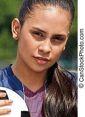 boldog, fiatal, női tízenéves kor, futball játékos