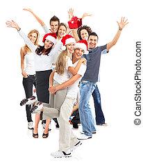boldog, group., karácsony, emberek