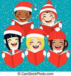 boldog, gyerekek, éneklés, christmas carols