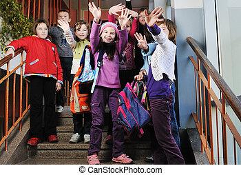 boldog, gyerekek, csoport, alatt, izbogis