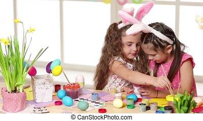 boldog, gyerekek, fárasztó, nyuszi fül, festmény ikra,...