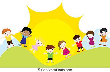 boldog, gyerekek, háttér