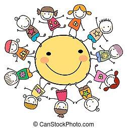 boldog, gyerekek, játék, a, nap