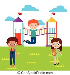 boldog, gyerekek, játék
