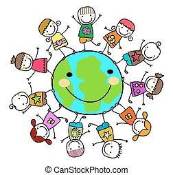 boldog, gyerekek, játék, földdel feltölt, bolygó