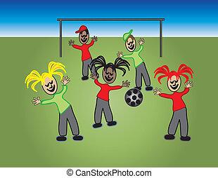 boldog, gyerekek, játék futball