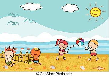 boldog, gyerekek, játék labda
