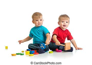 boldog, gyerekek, játék, wooden apró, együtt