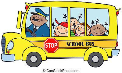 boldog, gyerekek, képben látható, iskolabusz