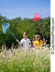 boldog, gyerekek, képben látható, kaszáló