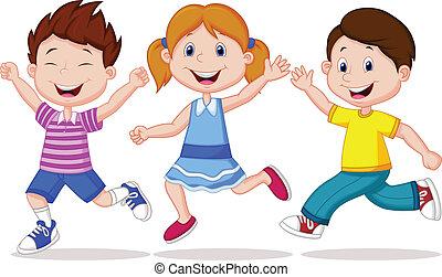 boldog, gyerekek, karikatúra, futás