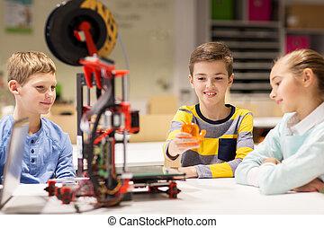 boldog, gyerekek, noha, 3, nyomdász, -ban, robotika, izbogis