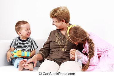 boldog, gyerekek, noha, nagyanyó