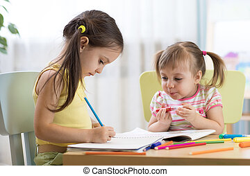 boldog, gyerekek, rajz, alatt, gyermekszoba, szoba
