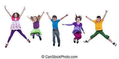 boldog, gyerekek, ugrás, magas, -, elszigetelt