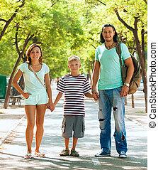 boldog, három, család, tizenéves