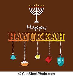 boldog, hanukkah, köszönés kártya, design.