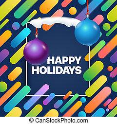 boldog, holidays., vektor, köszönés kártya