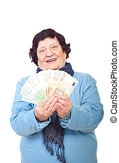 boldog, idősebb, woman hatalom, euro banknotes