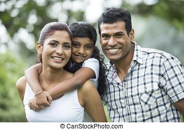 boldog, indiai, család, park.