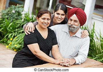 boldog, indiai, felnőtt, család, emberek