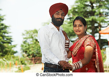 boldog, indiai, young felnőtt, házaspár
