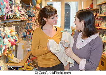 boldog, játékszer, bevásárlás, bolt, anyák
