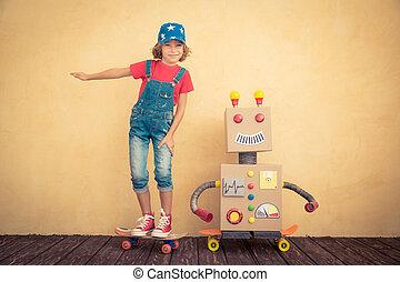 boldog, játékszer, játék, robot gyermekek
