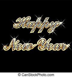 boldog {j évet, alatt, arany, és, bling