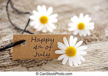 boldog, july 4, természetes, címke