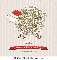 boldog, kártya, sheep, új, csinos, karácsony, 2015, köszönés, év