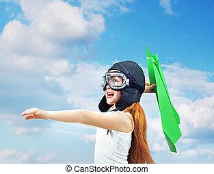 boldog, kölyök, játék, noha, papír repülőgép