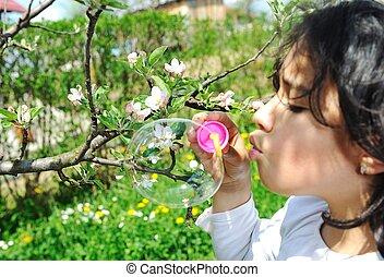boldog, külső, természet, gyerekek