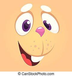boldog, karikatúra, üregi nyúl, nyuszi