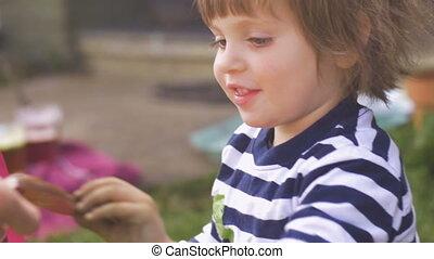 boldog, kicsi lány, tart benyúlik, közül, csokoládé, kívül,...