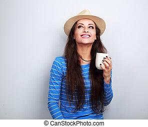 boldog, kisasszony, alatt, szalmaszál kalap, részeg kávécserje, noha, gondolkodó, arc, külső külső, képben látható, blue háttér