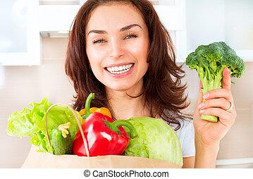 boldog, kisasszony, noha, növényi, alatt, bevásárlás, bag., diéta, fogalom
