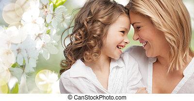 boldog, lány, anya