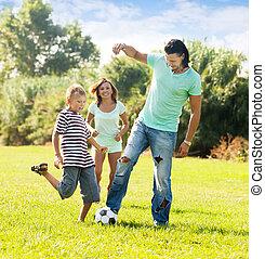 boldog, labda, három, család, játék