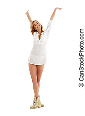 boldog, leány, alatt, white ruha, és, csizma, #2