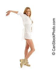 boldog, leány, alatt, white ruha, és, csizma