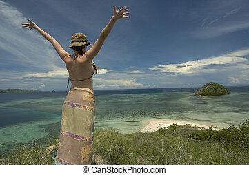 boldog, leány, képben látható, elhagyott, sziget