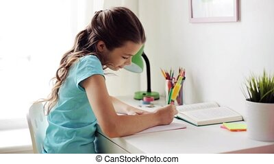 boldog, leány, noha, könyv, írás, fordíts, jegyzetfüzet,...