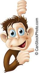 boldog, majom, hegyezés, karikatúra