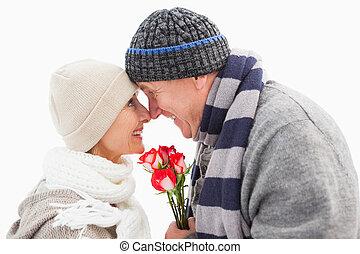 boldog, megfontolt összekapcsol, alatt, tél felöltöztet, noha, agancsrózsák