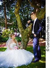 boldog, menyasszony inas, -ban, egy, liget