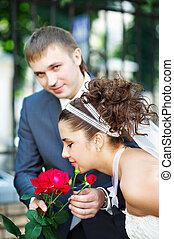 boldog, menyasszony inas, -ban, esküvő, jár dísztér