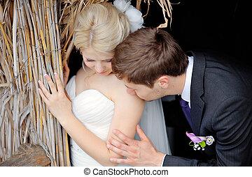 boldog, menyasszony inas, képben látható, jár dísztér