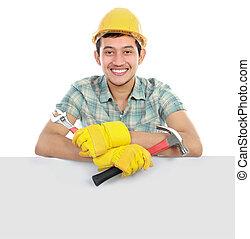 boldog, munkás, bizottság, tiszta